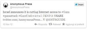 Israele chiude internet a Gaza