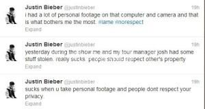Justin Bieber tweet nudo