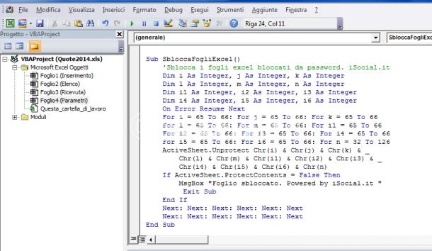 codice sblocca password excel