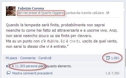 corona messaggio facebook