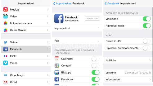 disattivare video facebook