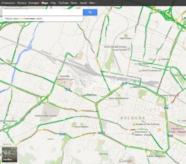 google Maps: traffico