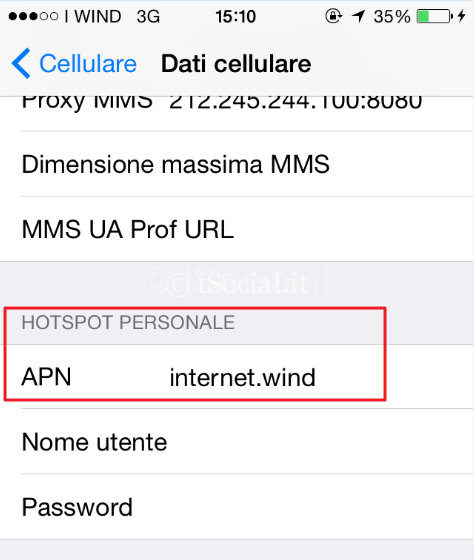 dati cellulare iphone ios wind