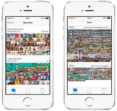 iOS 7 fotografie album Le novità di iOS 7