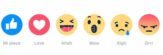 nuove icone reazioni su facebook