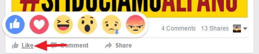 impostare reazioni su facebook