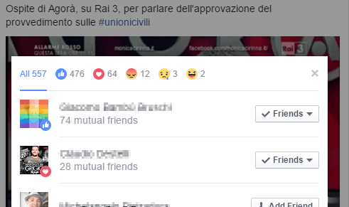 dettaglio reazioni facebook
