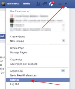 impostare lingua facebook