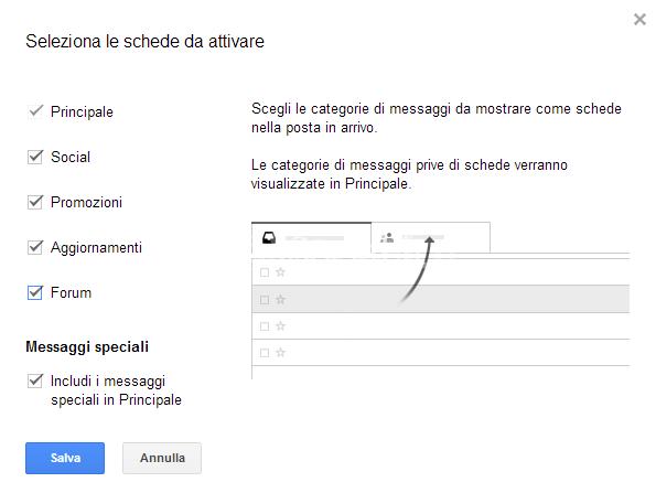 Gmail selezione schede
