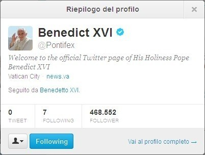 Account Twitter Papa Benedetto XVI