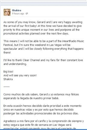 Shakira ha annunciato  la sua gravidanza anche su Facebook
