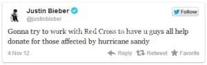 Tweet di Justin Bieber per la Croce Rossa Americana